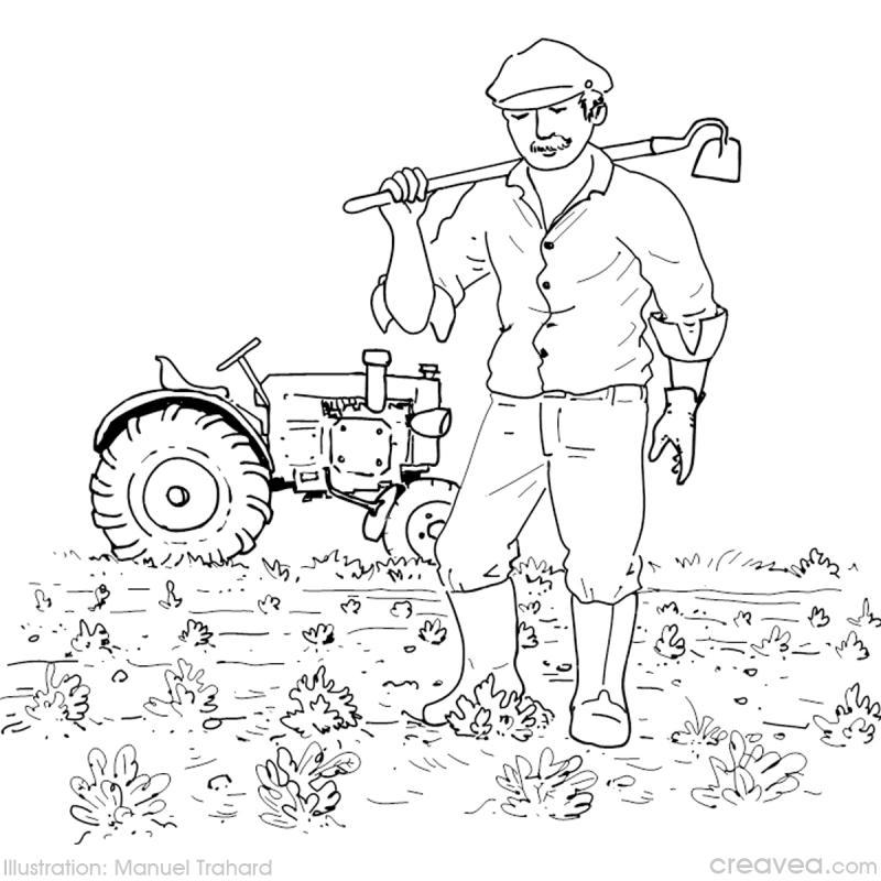 Coloriage des m tiers id es conseils et tuto coloriage - Dessin d un tracteur ...