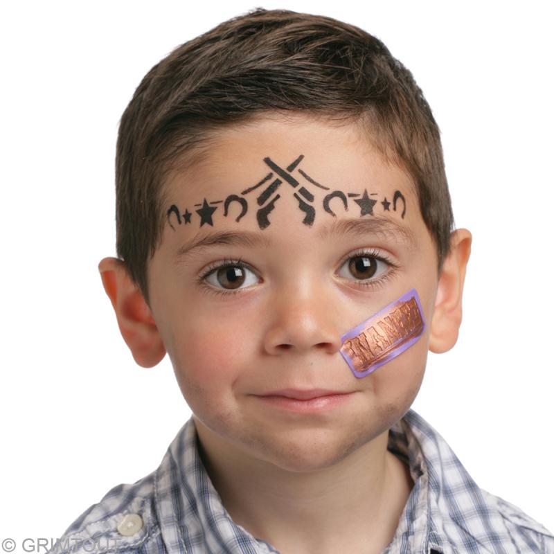 maquillage de cow boy pour enfant avec un pochoir id es. Black Bedroom Furniture Sets. Home Design Ideas