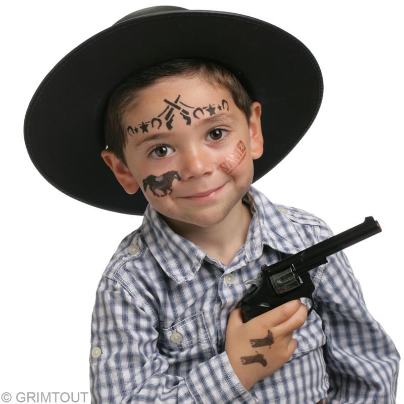 Maquillage de Cow boy pour enfant avec un pochoir - Idées et conseils ...