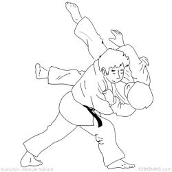 5. Coloriage gratuit jeux olympiques: le judo