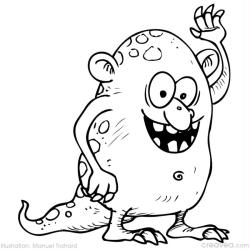 10. Coloriages faciles monstres  monstre sympa qui dit au revoir