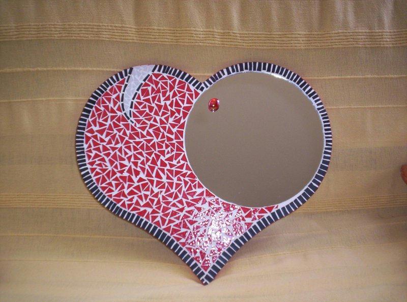 miroir coeur cr ations mosa que de mozaika74 n 13665. Black Bedroom Furniture Sets. Home Design Ideas