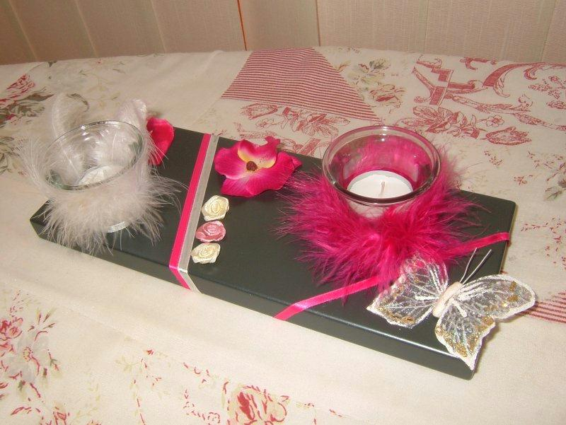 bougeoir fushia et noir cr ations bougies de chiaradeco. Black Bedroom Furniture Sets. Home Design Ideas