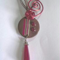 Collier Fimo et fil alu rouge/chocolat