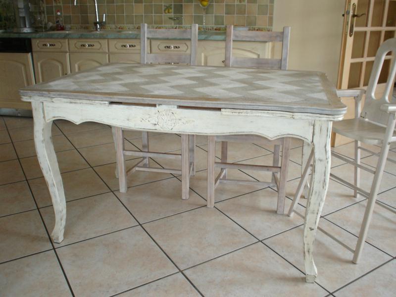 Table cérusé en damier  Créations Peinture multi supports de canoue n°27200  -> Céruse Blanche