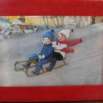 enfants sur une luge