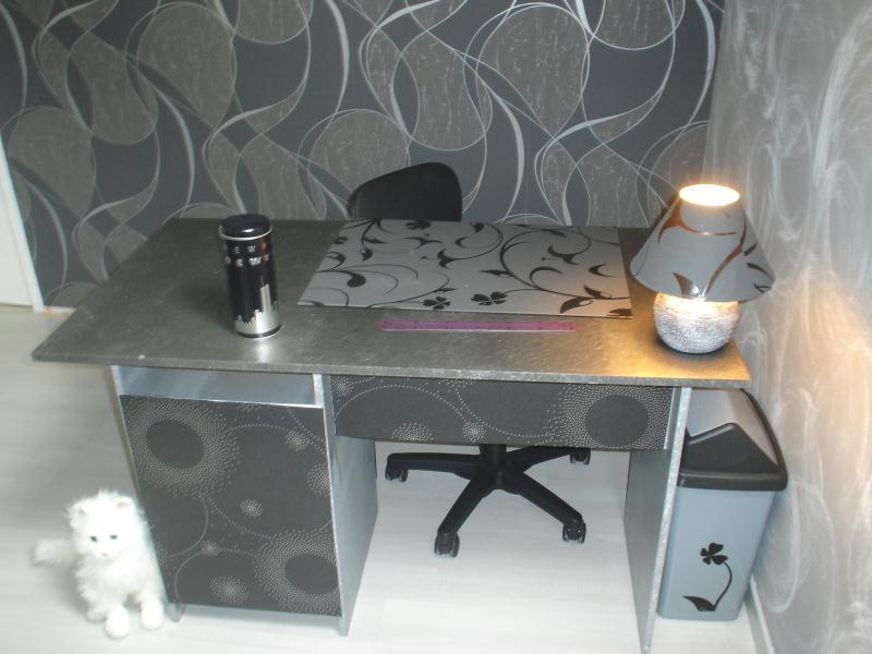 bureau customis en gris et argent cr ations d coration de canoue n 30230 vue 10602 fois. Black Bedroom Furniture Sets. Home Design Ideas