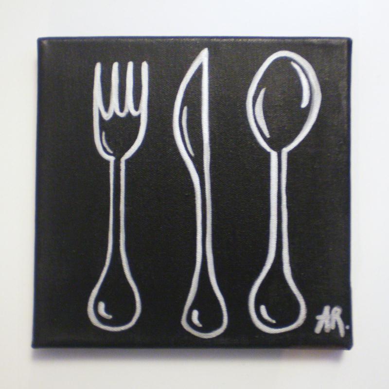 Tableau avec peinture acrylique d co cuisine silver cook - Peinture acrylique cuisine ...