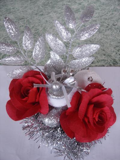 D coration de no l en papier cr pon rose cr ations art de la table de anjuya n 30395 vue - Decoration en papier crepon ...