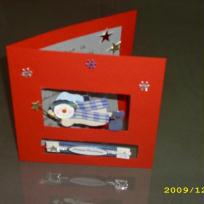 carte de noël rouge avec stickers