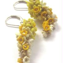 boucles d'oreilles en pate fimo Jolies glycines