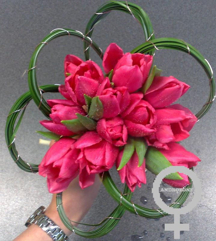 Bouquet de tulipes roses cr ations art floral de for Bouquet de tulipes