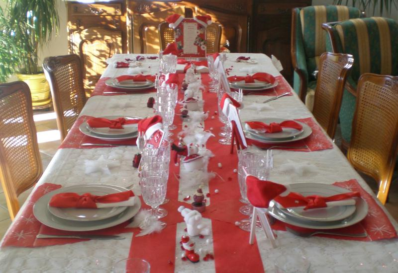 D coration de table de no l rouge et blanc cr ation de for Decoration table de noel rouge et blanc
