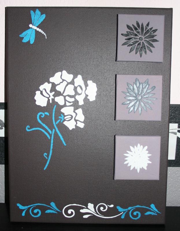 Tableau home d co fleurs et libellule bleue cr ations peinture multi suppor - Creation tableau deco ...