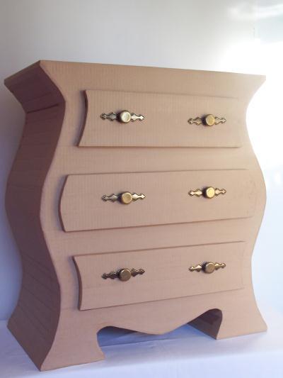 Kit de meuble en carton commode 3 tiroirs cr ations for Creation meuble carton