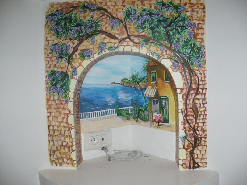 fresque paysage avec arche en pierre et glycine cr ations peinture multi supports de celine. Black Bedroom Furniture Sets. Home Design Ideas