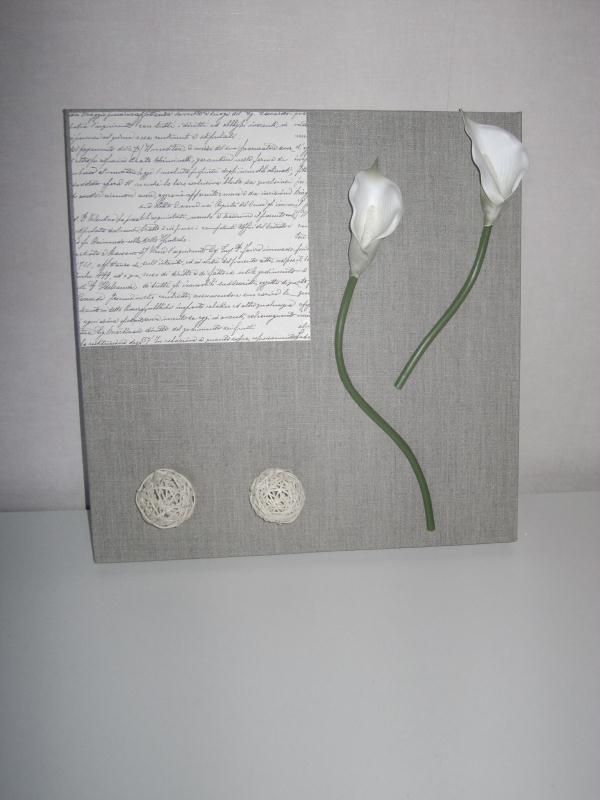 Tableau po me fleur composition sur toile de lin cr ations home d co et mi - Creation tableau deco ...