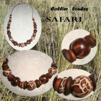 collier boules safari en fimo
