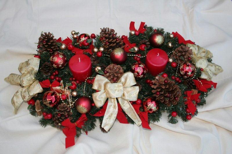 Centre de table pour noel cr ations art floral de maeva - Centre de table noel ...