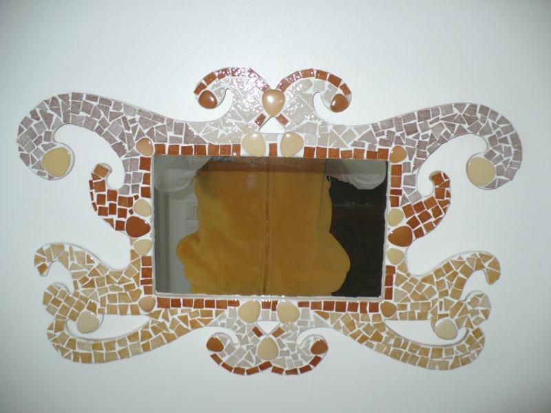 Miroir baroque gris et beige cr ations mosa que de for Miroir baroque gris