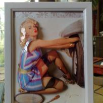 pin up changeant une roue en 3D