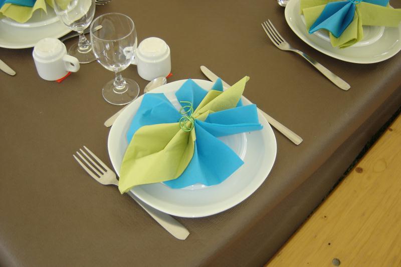 Pliage serviette turquoise et vert anis cr ations art de la table de marina n 33236 vue Pliage avec 2 serviettes en papier