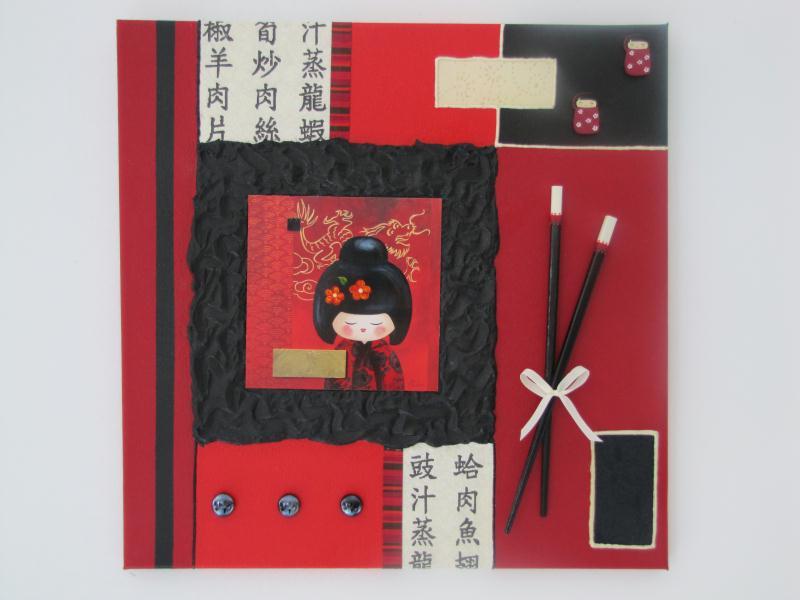 carte postale rouge et noire avec serviettes et baguettes cr ations home d co et miroir de. Black Bedroom Furniture Sets. Home Design Ideas