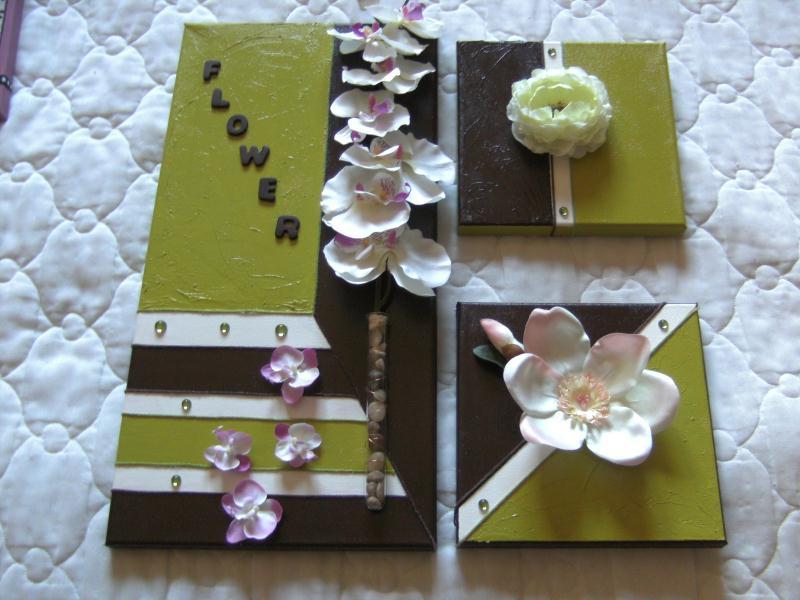 Toiles d coratives flower sur fond vert blanc et chocolat cr a - Toiles decoratives murales ...