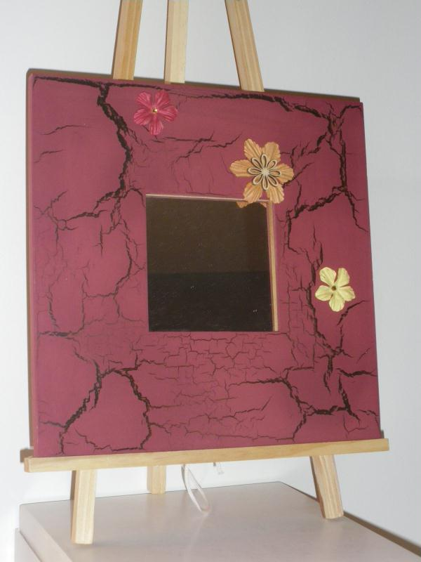 Miroir en bois peinture rouge effet craquel brun - Peinture effet craquele ...