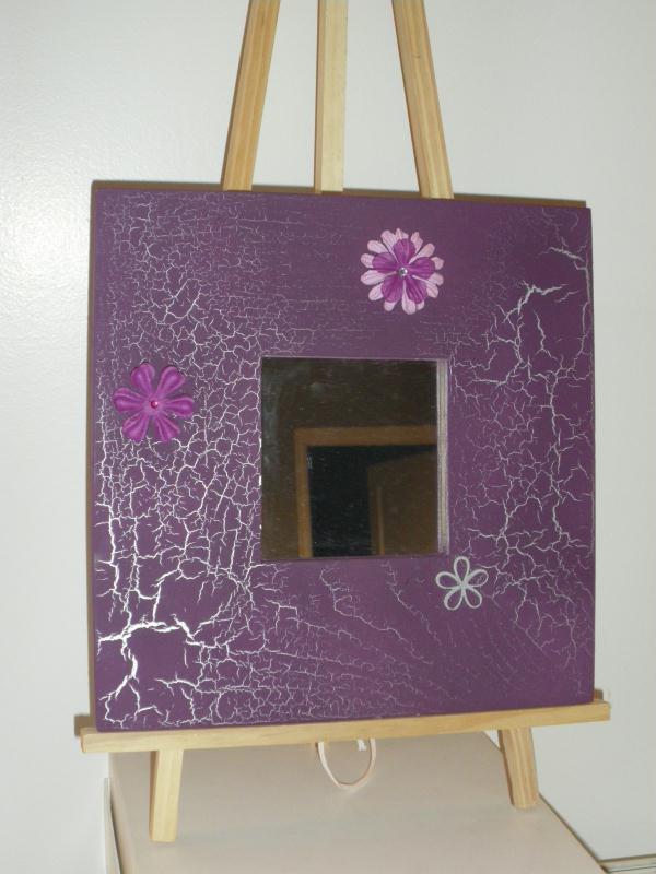 miroir en bois peinture violet effet craquel argent cr ations home d co et miroir de. Black Bedroom Furniture Sets. Home Design Ideas