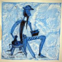 Foulard bleu Don Quichotte