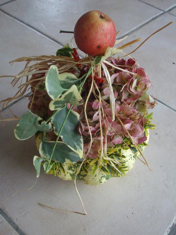 composition d 39 automne avec sa pomme rouge cr ations art floral de casamance n 37476 vue 2696. Black Bedroom Furniture Sets. Home Design Ideas