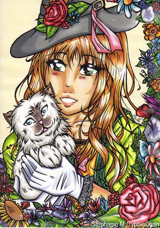 Dessin manga femme avec un chat et fleurs cr ations beaux arts dessin de typhiechan n 37921 - Femme chat manga ...