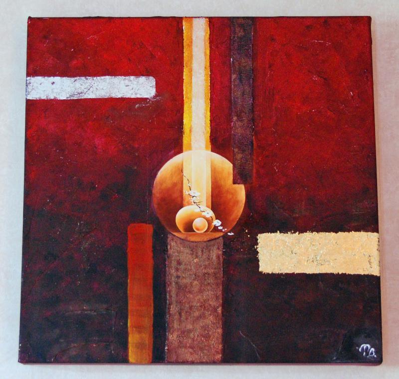 Tableau zen rouge et orang cr ations home d co et miroir de patachousse n - Creation tableau deco ...
