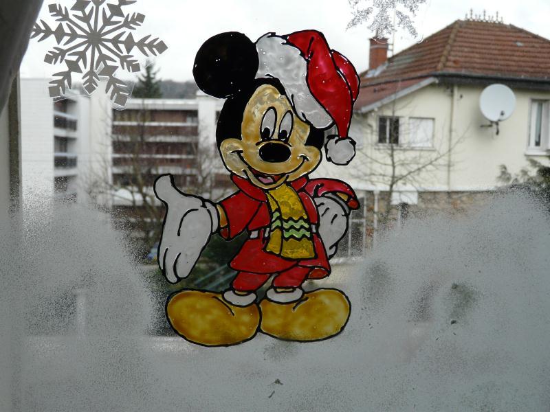 Mickey tout en rouge d corations de noel cr ations - Windows color noel ...
