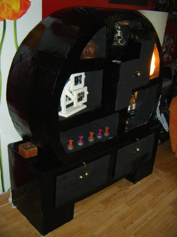 Meuble noir en carton chinois cr ations meuble en carton for Meuble chinois belgique