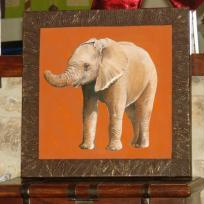 L' lphant sur fond orange en 3D