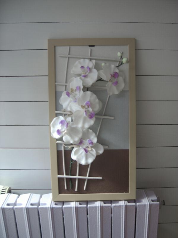 Tableau floral l 39 orchid e blanche cr ations home d co et miroir de maco - Tableau avec orchidee ...