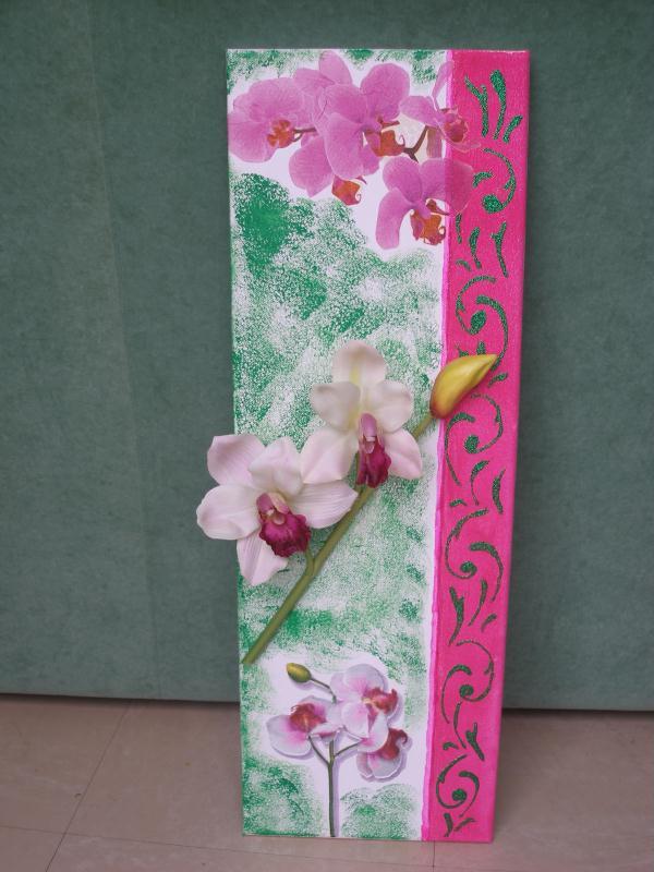 Tableau rose et vert avec orchid es cr ations serviettes en papier de annel - Tableau avec orchidee ...