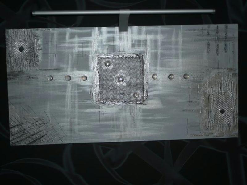 Abstrait toile gris argent cr ations home d co et for Miroir gris argent