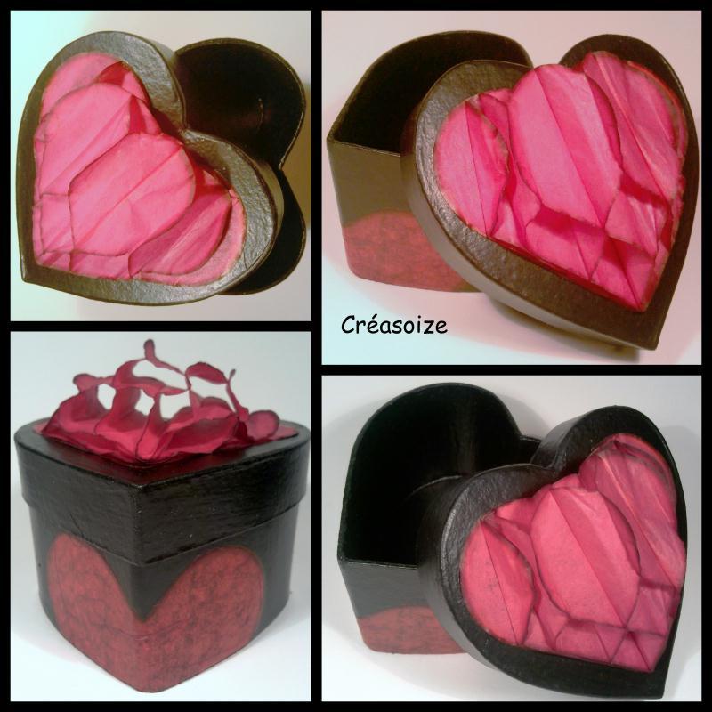 Boite coeur 3d d cor e sur carton cr ations d copatch de - Boite en carton decoree ...