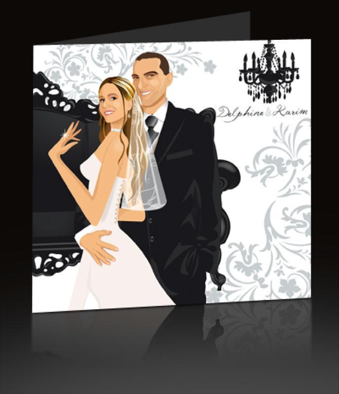 faire part de mariage th me baroque noir et blanc cr ations carterie faire part de. Black Bedroom Furniture Sets. Home Design Ideas
