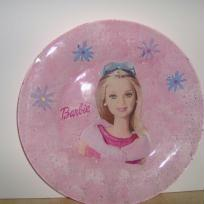 assiette barbie  collage de serviette