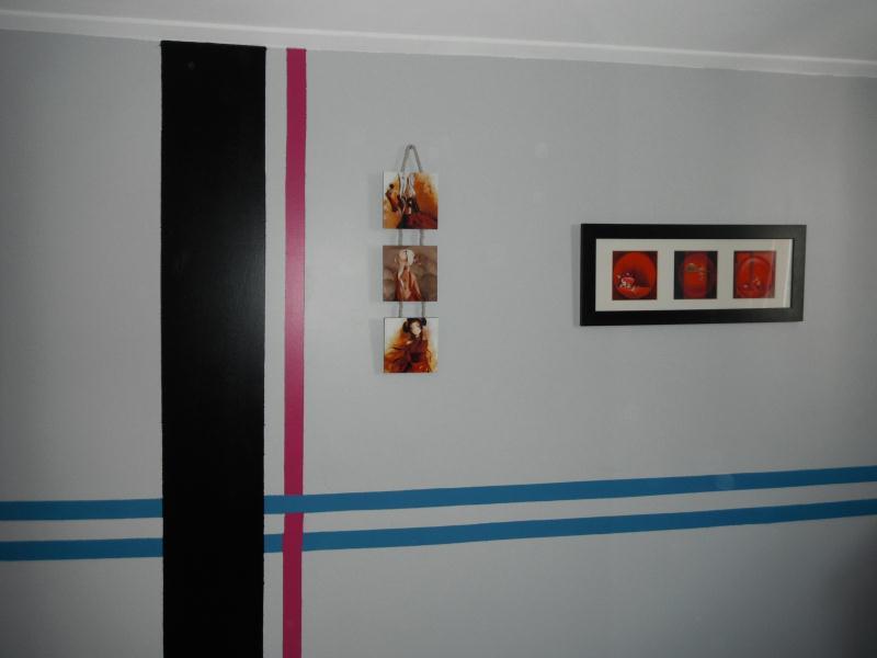 Mur chambre gros rose noir turquoise cr ations home d co - Chambre turquoise et noir ...