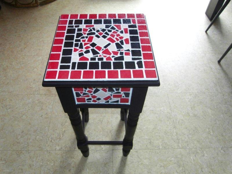 Table basse mosa que rouge et noir cr ations art de la table de themise50 n - Table basse noir et rouge ...