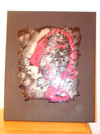 Tableau abstrait fait avec resine de glacage cr ations for Peinture avec resine