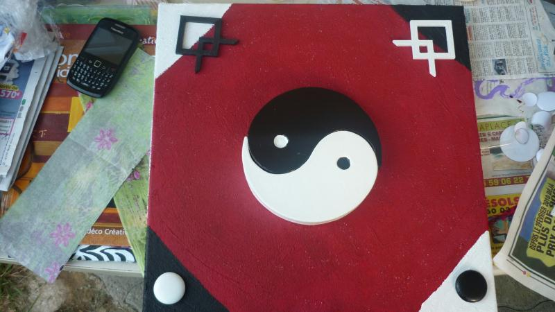 Tableau 3d ying yang rouge et noir cr ations home d co for Deco ying yang