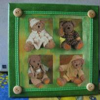 Dco chambre bb :Tableau pour enfant avec des Nounours