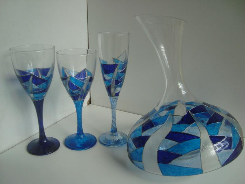 Cr ation verres et carafe d canter en peinture vitrail cr ations art de l - Peindre des verres a pied ...
