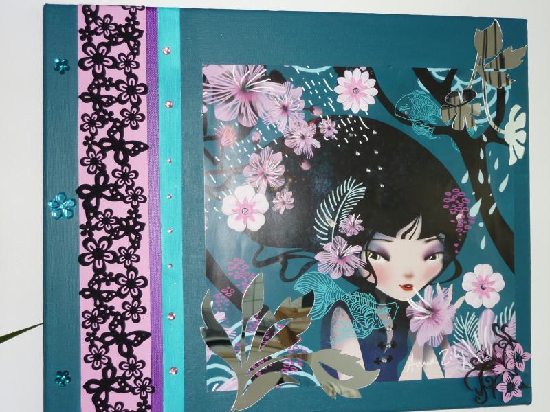 Cr ation tableau princesse manga turquoise et rose cr ations home d co et - Creation tableau deco ...